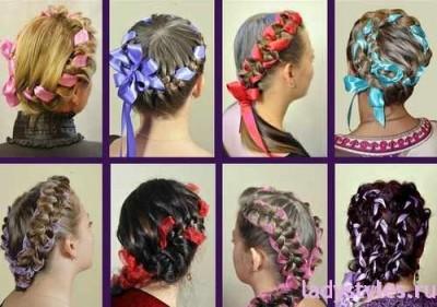 Плетение обратных и обычных кос с лентой фото, схемы и видео обучение