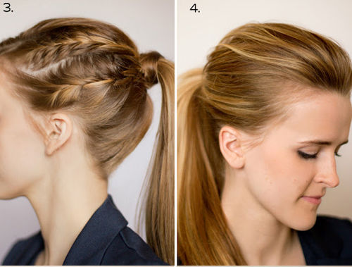 Причёска с начесом, французскими косичками сбоку и пышным хвостом фото схема и видео