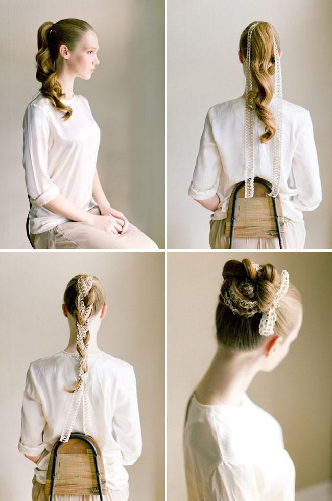 Схема свадебной прически пучка из косы с лентой для невесты