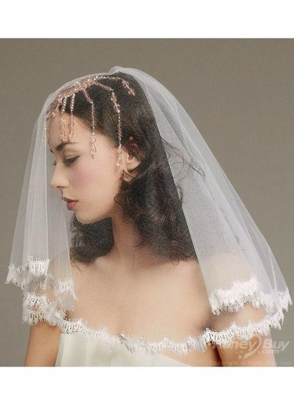Свадебные короткие прически с фатой из кружева фото подборка