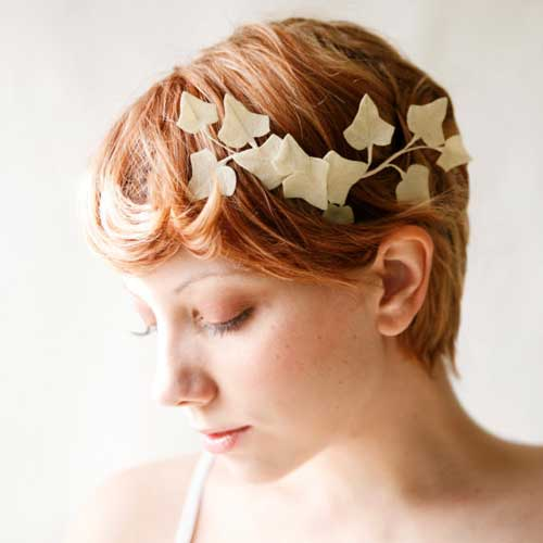 Свадебные прически на короткие волосы с челкой 42 фото