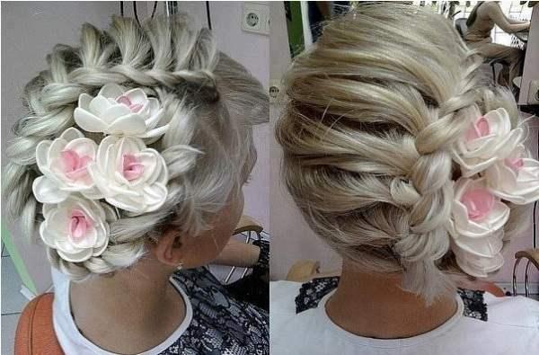 Свадебные Прически на Средние Волосы, собранные в прическу сзади фото варианты