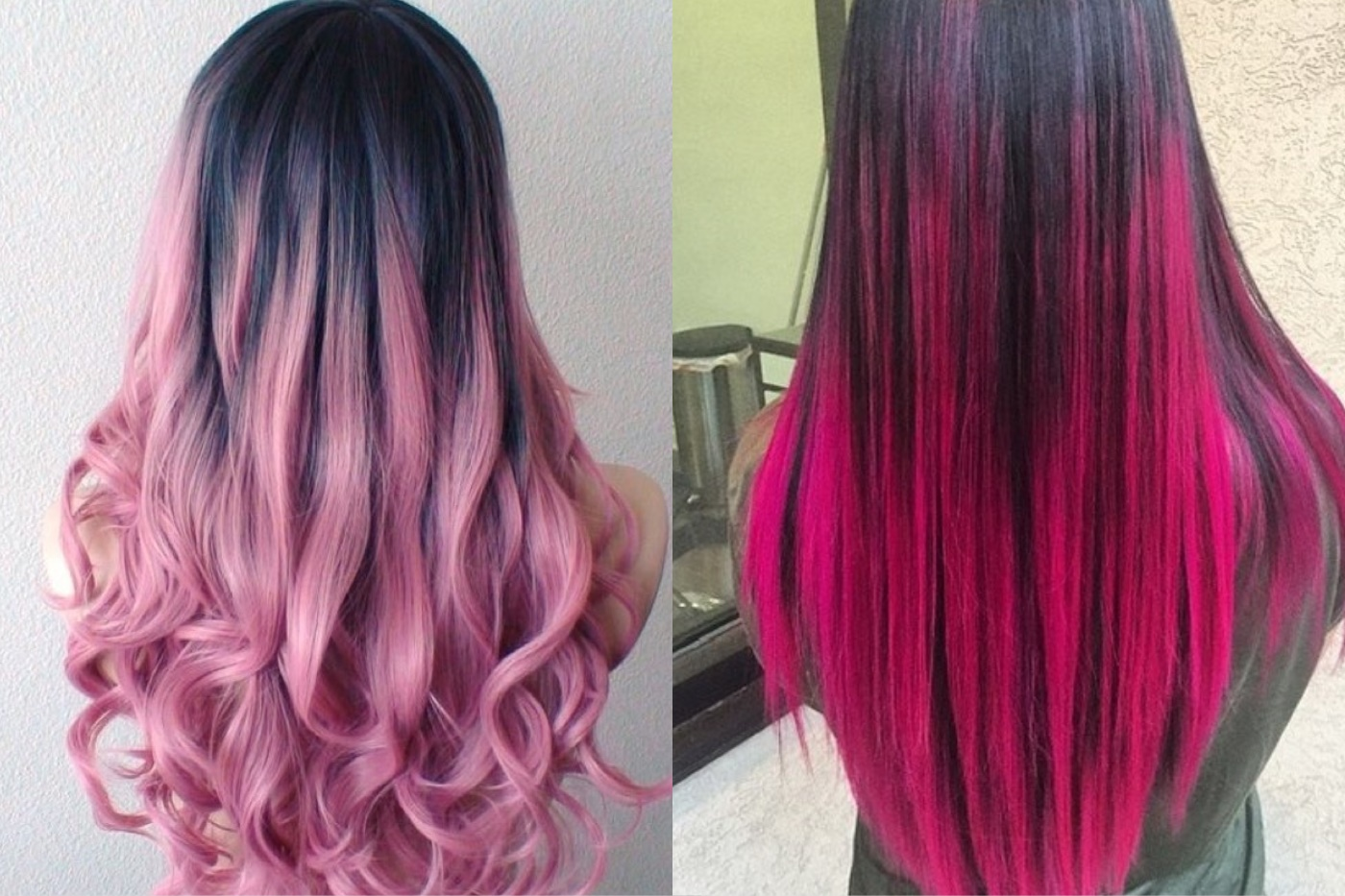 Омбре темно розовое