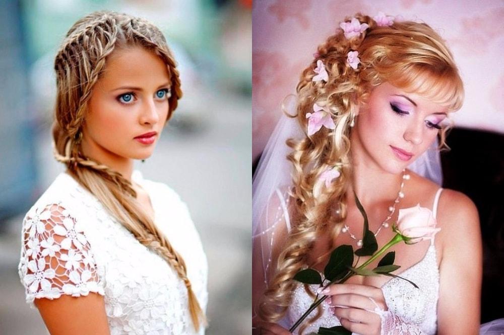 Свадебные прически на средние волосы с фото